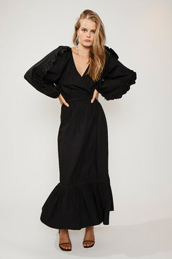 Eden Maxi Sleeved Dress - Black