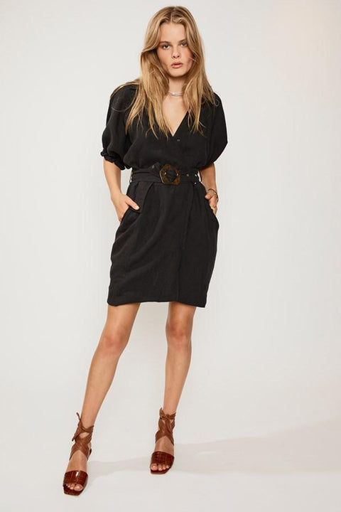 Ford  Linen Wrap Dress - Black