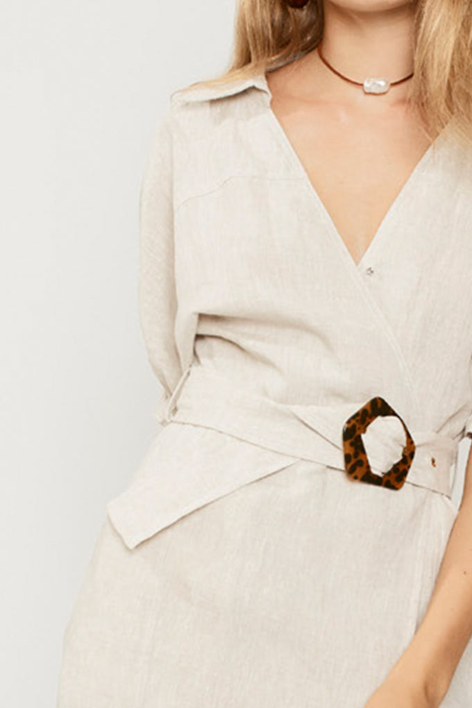 Ford Linen Wrap Dress - Natural