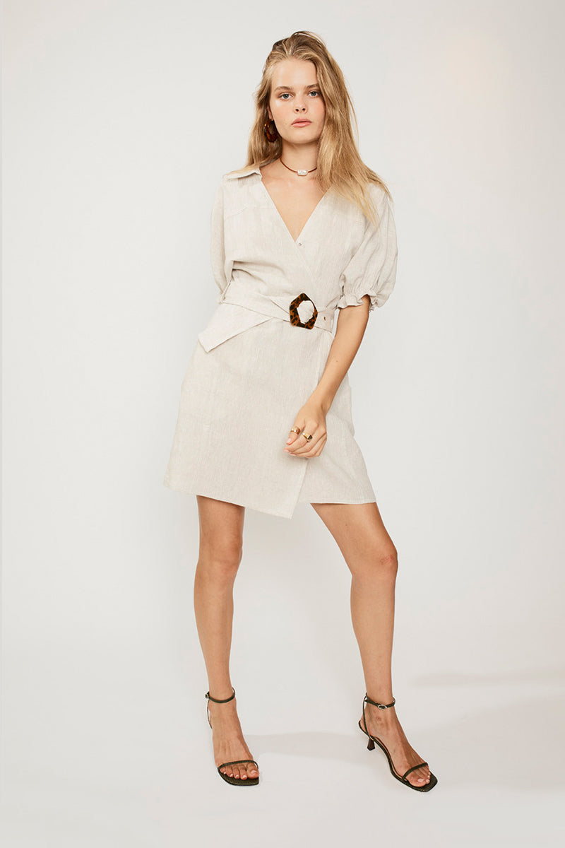 SUBOO Ford Linen Wrap Dress - Natural