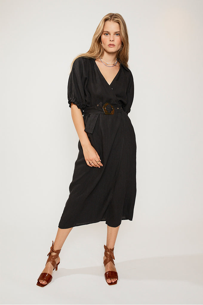 Ford Linen Wrap Long Dress - Black