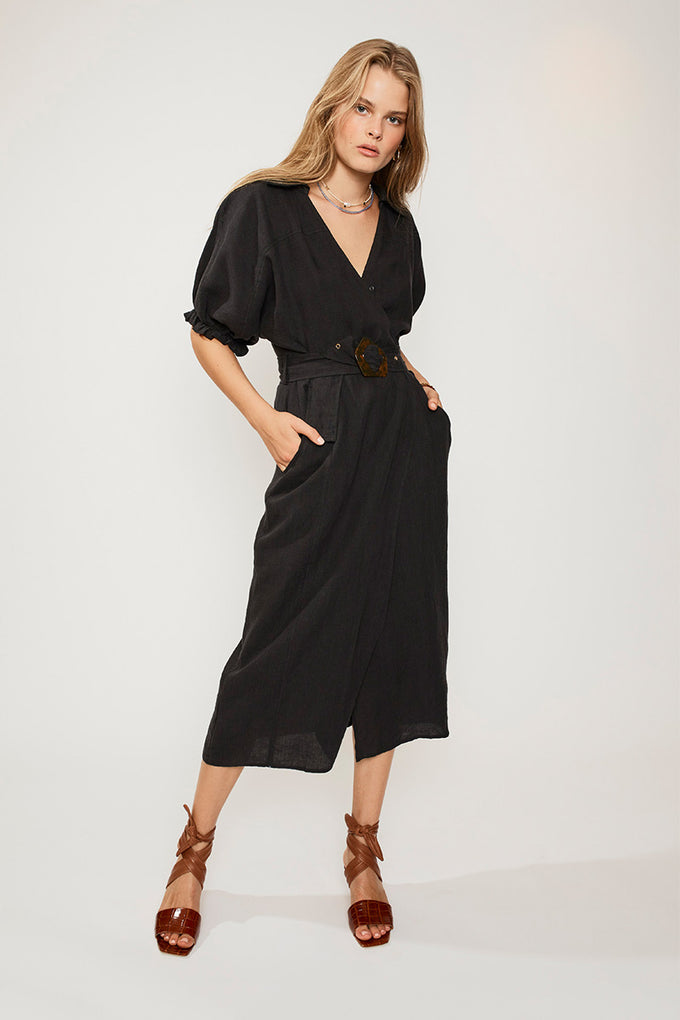 SUBOO Ford Linen Wrap Long Dress - Black