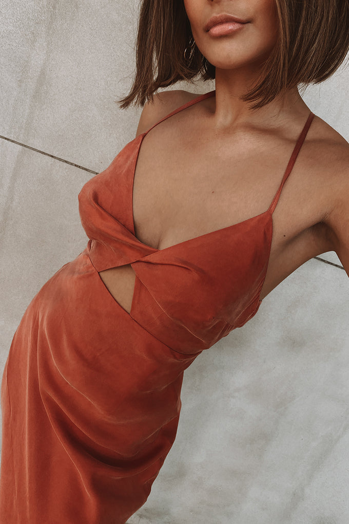 Georgia Twist Front Slip Dress - Rust * PRE ORDER