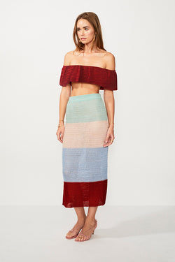 Lucy Knitted Wide Stripe Midi Skirt - Multi