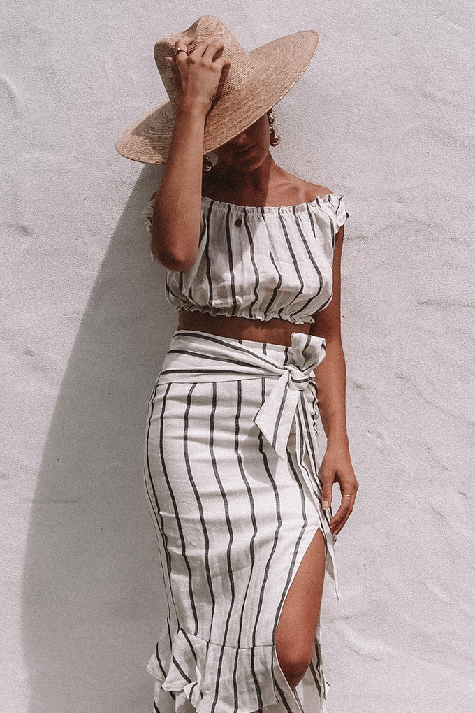 Crop Top - WHT/BLK STRIPE
