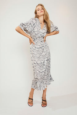SUBOO Rosetti Balloon Sleeve Midi Dress