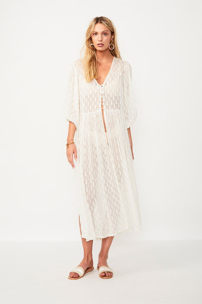 Alchemy Lurex Chiffon Robe - Cream / Gold