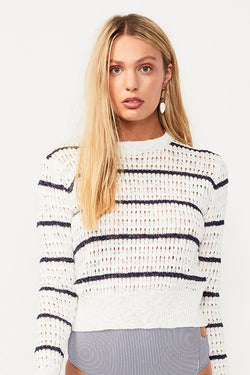 Shoreline Stripe Knit Jumper - White/Navy