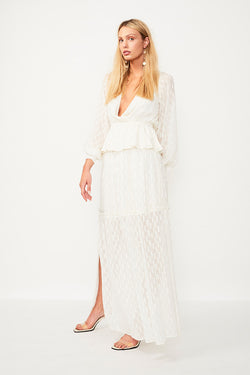 Alchemy Lurex Maxi Skirt - Cream / Gold
