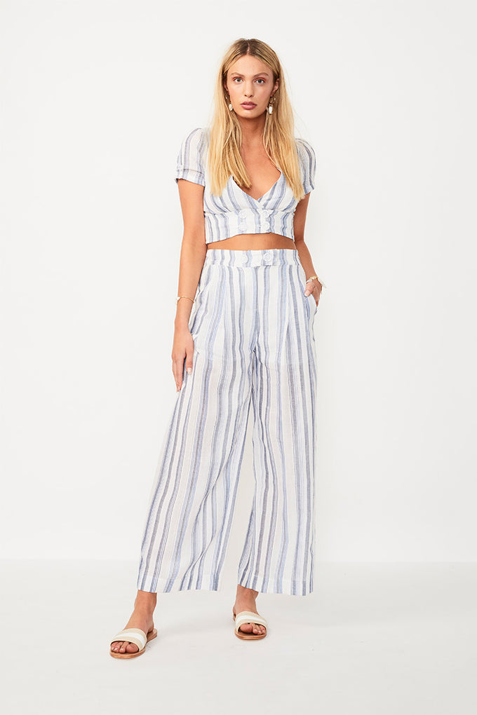 Shoreline Pant - Wht/Blue Stripe