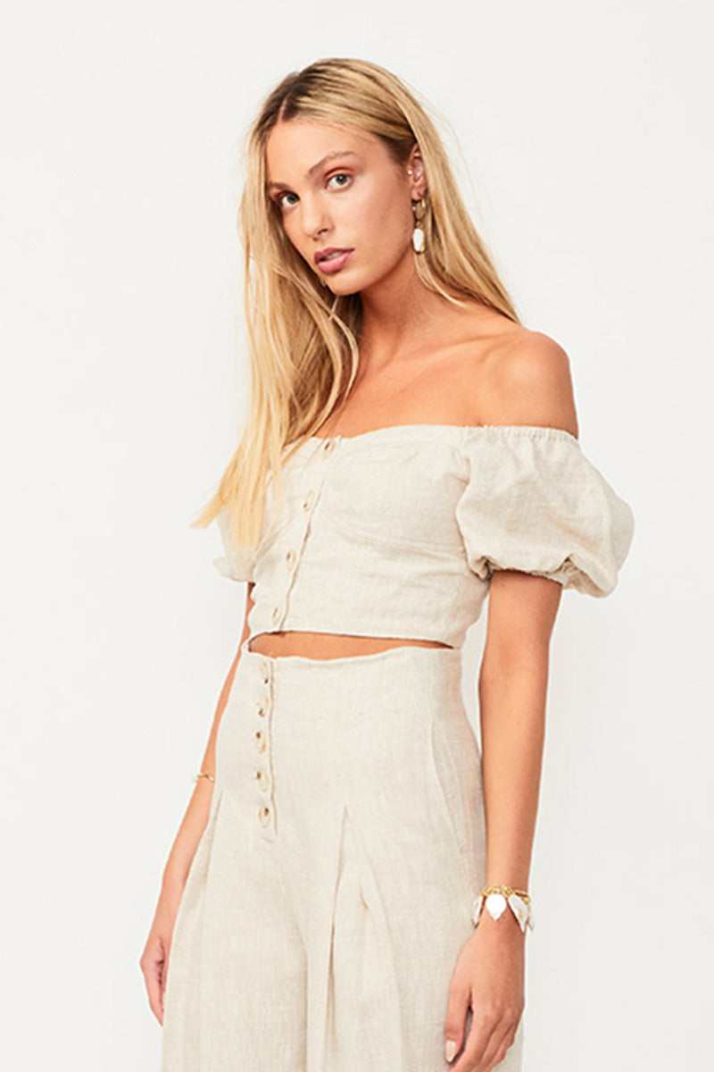 Wanderer Button Front Crop Top - Beige