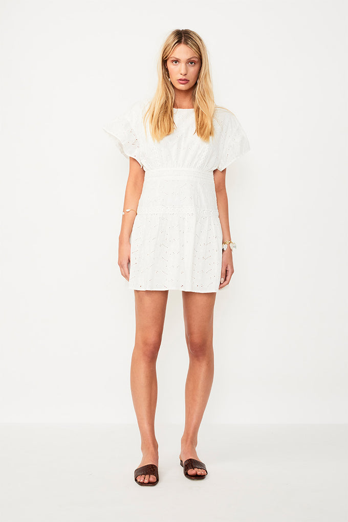 Azalea Ruffled Mini Dress - White