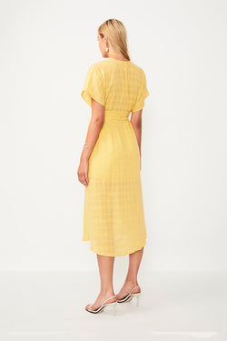 Morning Light Button Front Midi Dress - Yellow