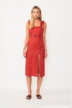 Rising Sun Belted Midi Dress - Rust