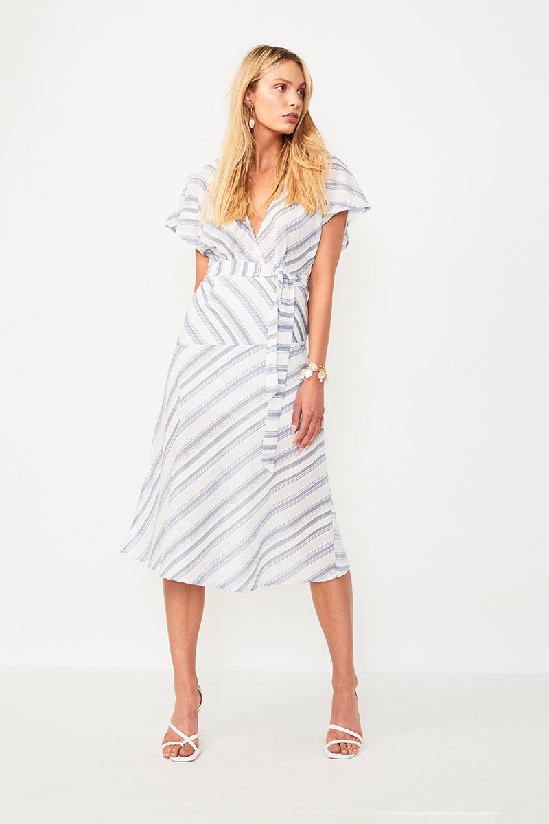 Shoreline Midi Dress - Wht/Blue Stripe