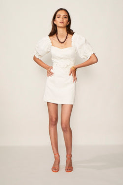 Lila Twill Sleeved Mini Dress