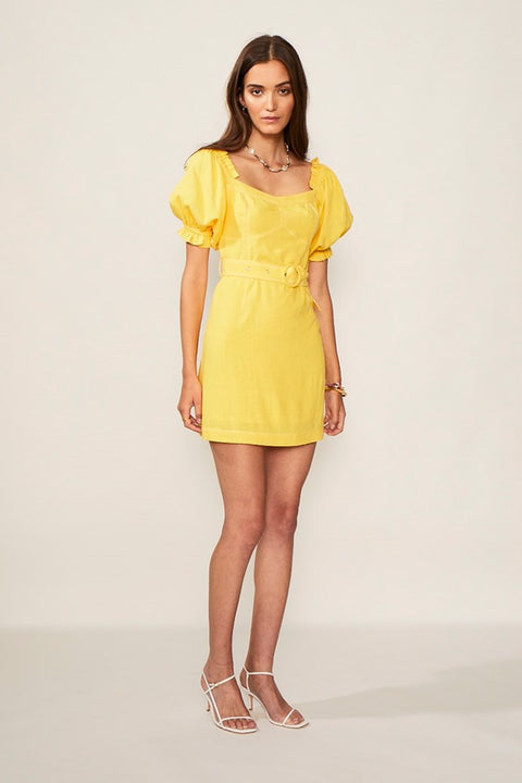 Ines Linen Balloon Sleeve Mini Dress