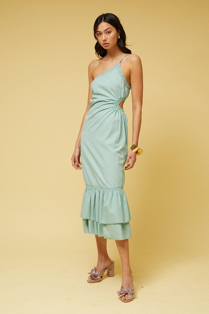 Saga One Shoulder Dress - Mint