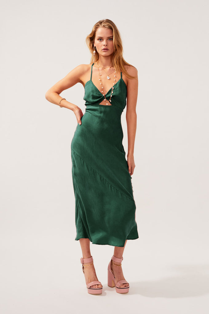 Georgia Twist Front Slip Dress - Green * PRE ORDER*