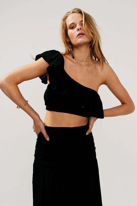 Alva Frill Crop Top-Black - PRE-ORDER