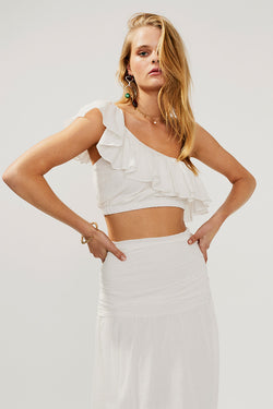 Alva Frill Crop Top-Ivory