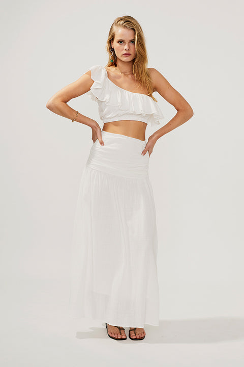 Alva Gathered Maxi Skirt-Ivory