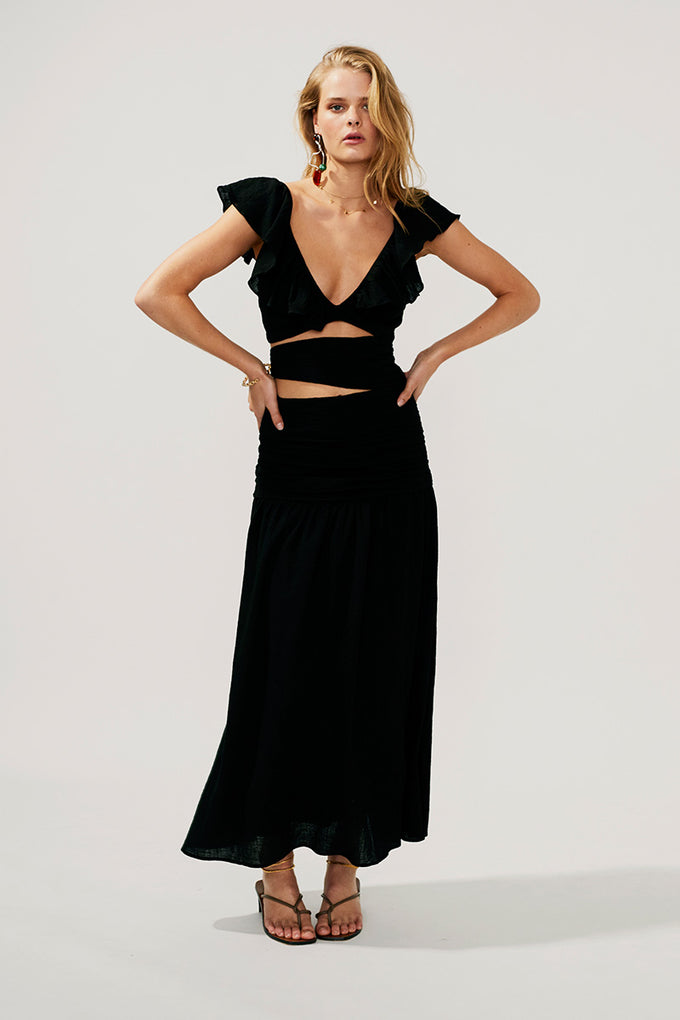 Alva Rouched Cut Out Maxi-Black