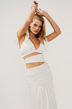 Alva Rouched Cut Out Maxi-Ivory - PRE-ORDER