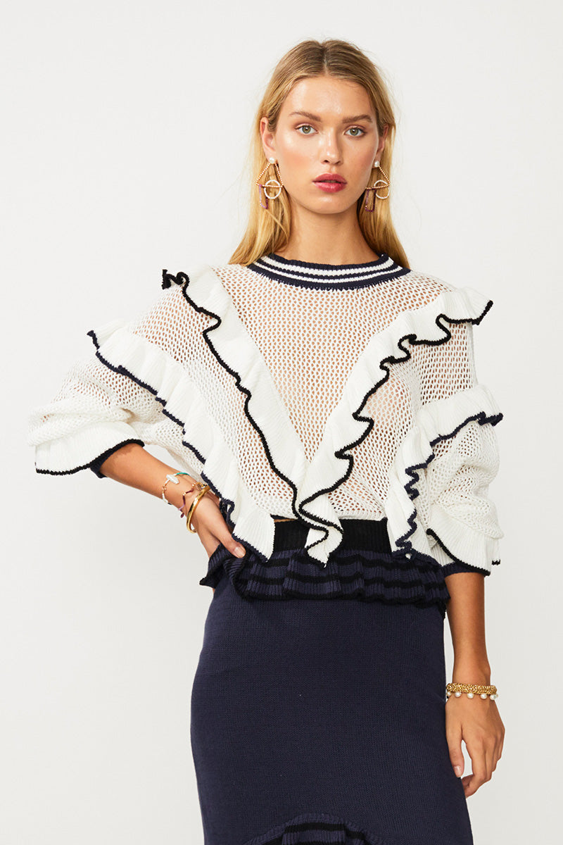 Angel Knit Sweater - Ivory/Navy/Black