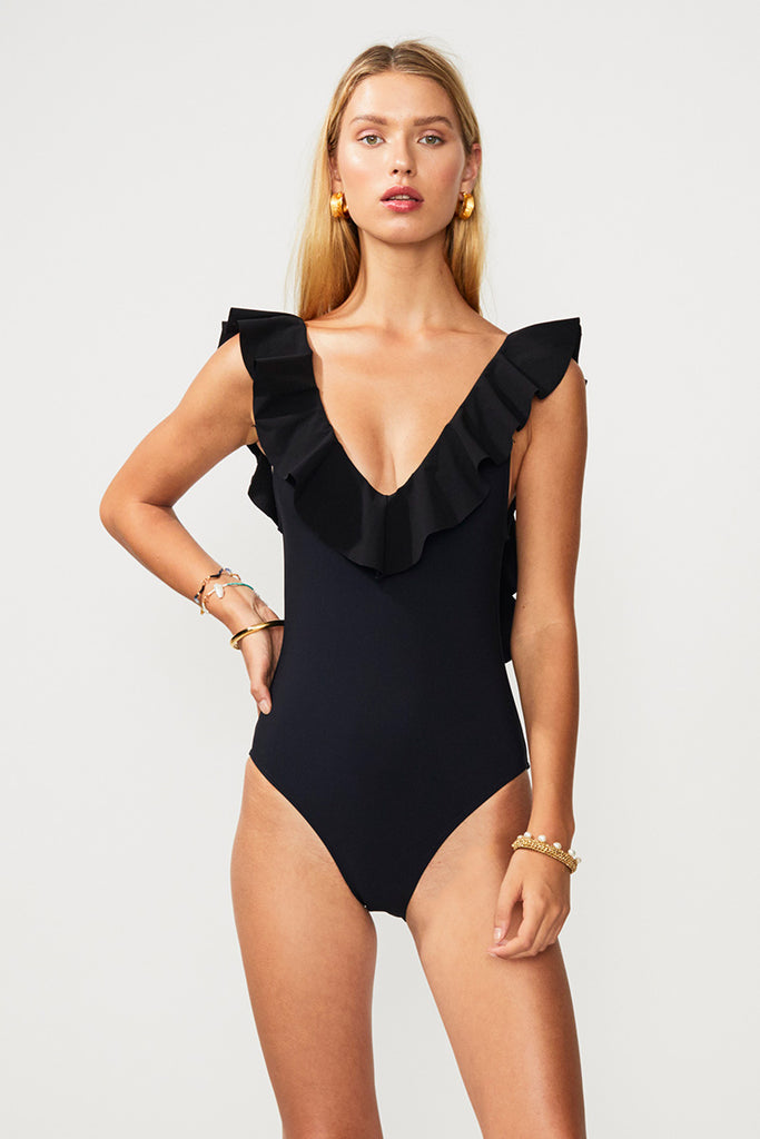 Chi Chi Bonded Frill Scoop One Piece - Black