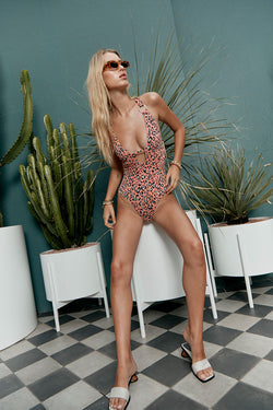 Cora Deep V One Piece - Coral Leopard