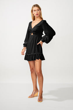 The Crossing Twist Front Mini Dress - Black