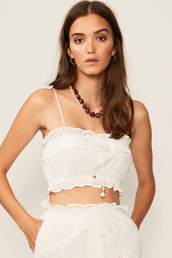 Edie Ruffle Lace Crop Top