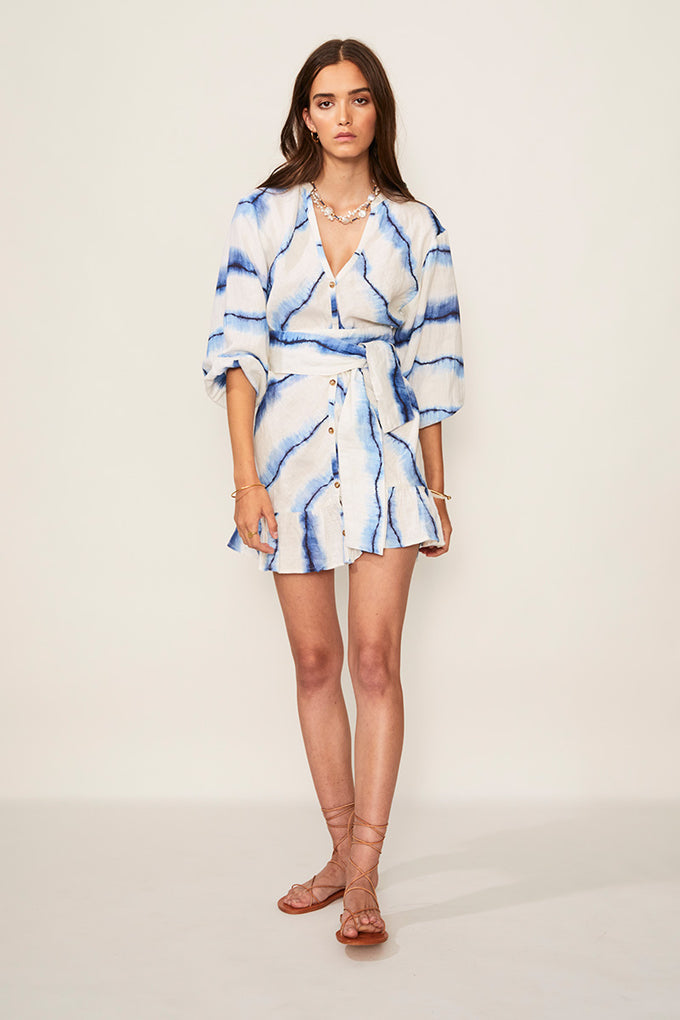 Estelle Button Balloon Sleeve Mini Dress