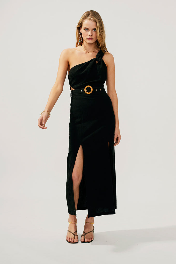 Faith Twist Maxi Dress-Black