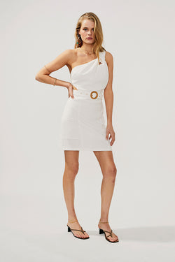 Faith Twist Mini Dress-Ivory