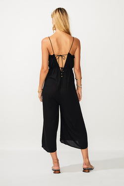 Fine Lines Tie Back Jumpsuit - Black