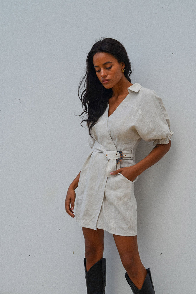 Ford Linen Wrap Dress - Natural - PRE-ORDER