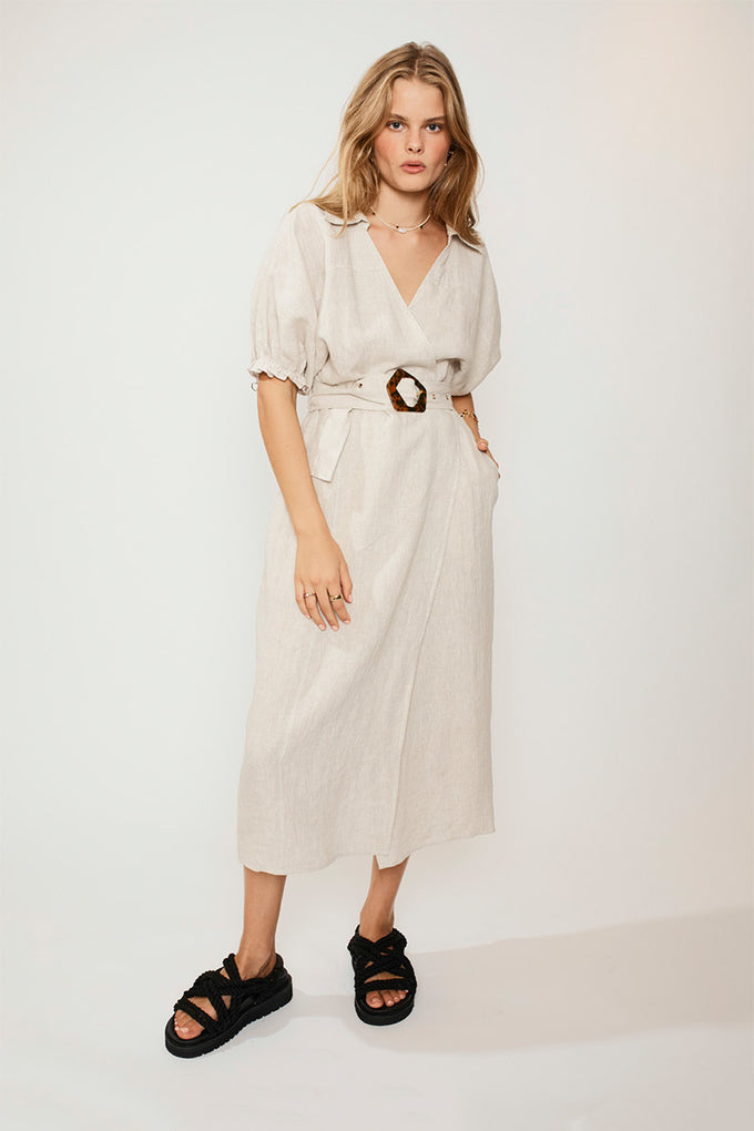 Ford Linen Wrap Long Dress - Natural