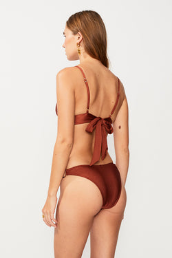 Gaby Ring Front Triangle Bikini Top - Copper