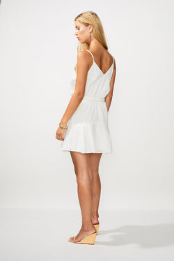Goldie Wrap Tie Mini Dress - Ivory