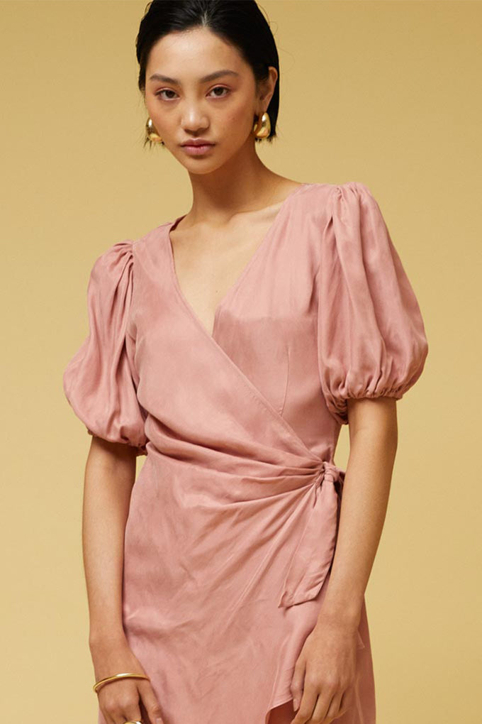 Ilya Wrap Dress - Nude Pink