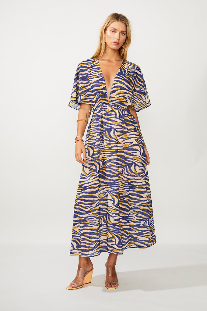 Into The Wilds Cape Dress - Zebra Print