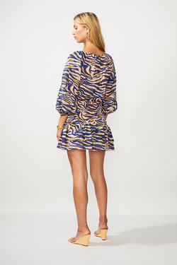 Into The Wilds Shirred Wrap Mini Dress - Zebra Print