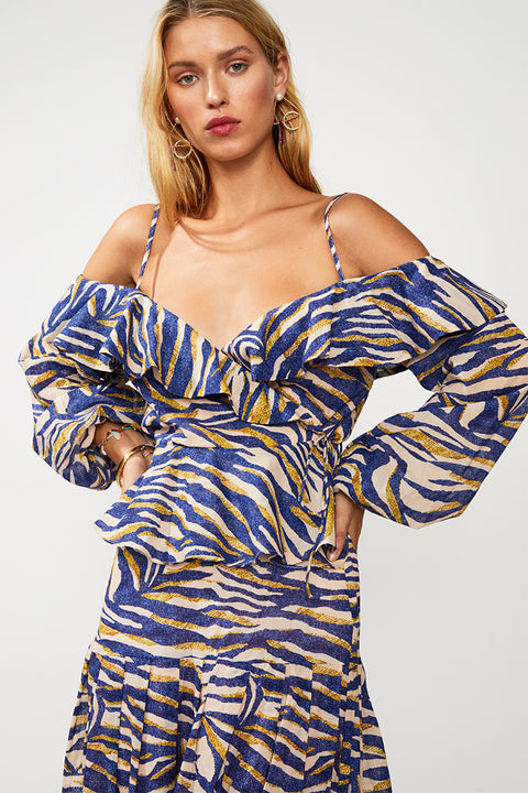 Into The Wilds Off Shoulder Top - Zebra Print