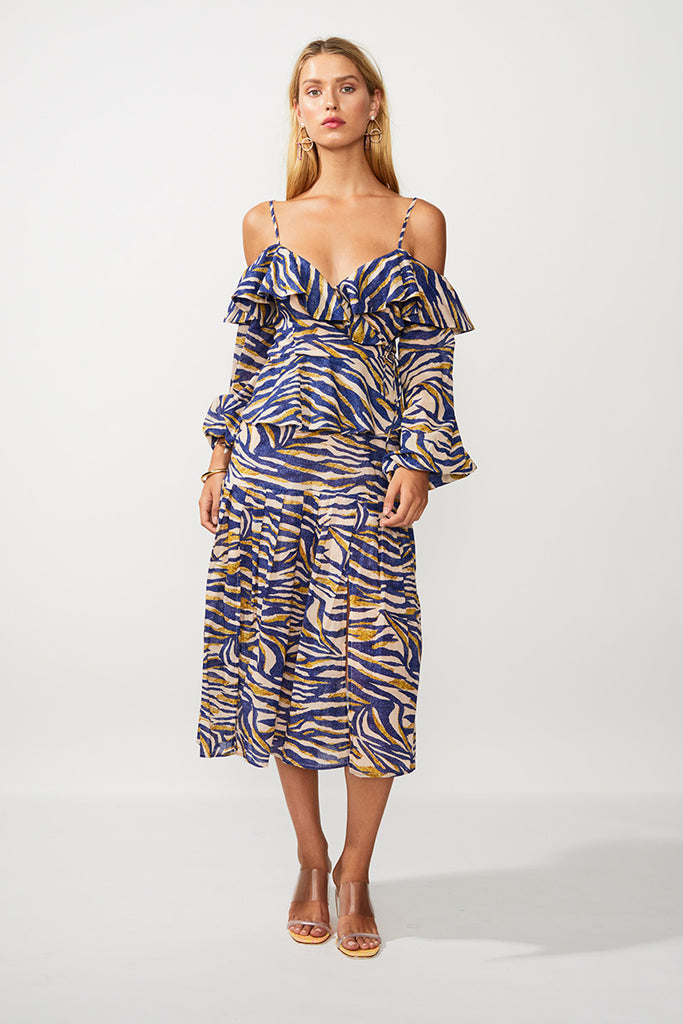 Into The Wilds Split Midi Skirt - Zebra Print