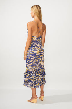 Into The Wilds Tie Back Midi Dress - Zebra Print