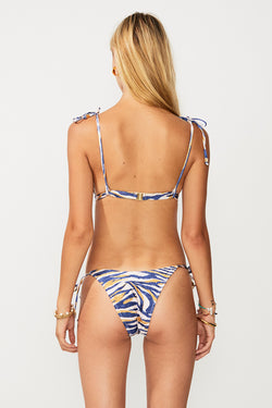 Into The Wilds Tie Triangle Top - Zebra Print