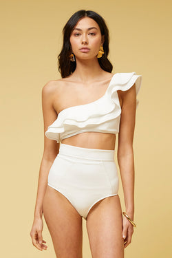 Kaia One Shoulder Ruffle Bandeau - Ivory