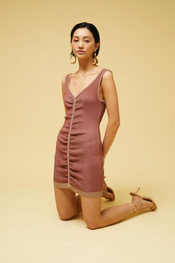 Leah Knit Rouched Mini Dress - Rust